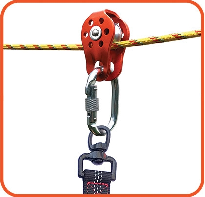 Add the other component such as the pulley, carabiner, and bungee